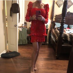 XS Lovers + Friends red floral dress